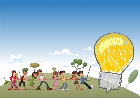 educacion fisica: Grupo de ni�os tirando de una bombilla de luz gran idea
