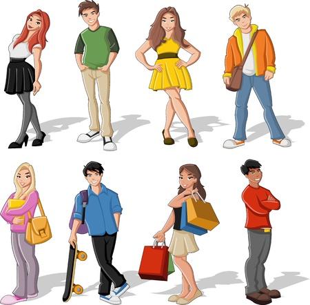 pandilleros: Grupo de niños de dibujos animados de colores. Adolescentes