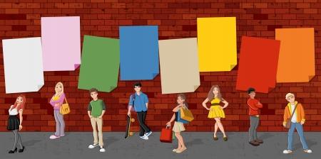 갱: 붉은 벽돌 벽 배경 앞의 만화 청소년 그룹