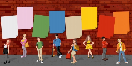 lass: Group of cartoon teenagers in front of red brick wall background   Illustration