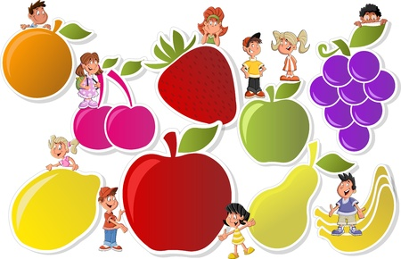 nourishment: Colorful template for advertising brochure with fruits and cartoon children