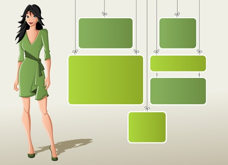 Green template for advertising brochure with cartoon woman in green dress  Vector