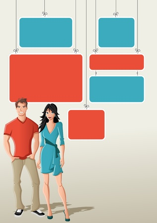Red and blue template for advertising brochure with cartoon couple   Vector