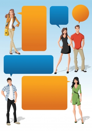 friends talking: Colorful template for advertising brochure with cool fashion young people and speech balloons. Teenagers. Illustration