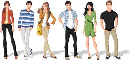Grupo de jóvenes de dibujos animados de moda. Adolescentes.