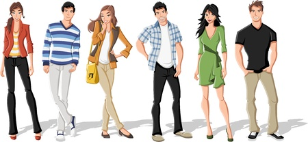college girl: Group of fashion cartoon young people. Teenagers. Illustration
