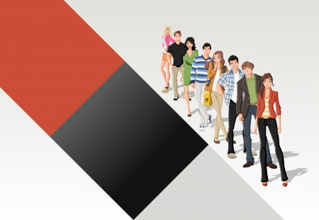 Template with fashion cartoon young people standing in a line  Stock Vector - 16260823