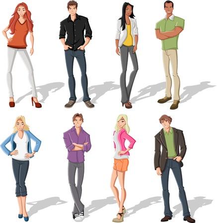 de maras: El grupo de personas de dibujos animados de moda joven Vectores