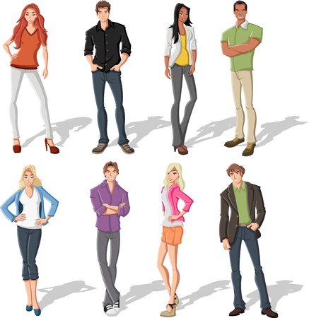 relative: Group of fashion cartoon young people