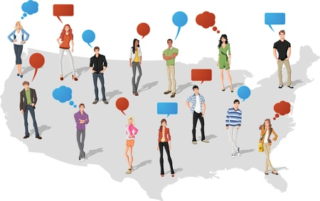 balloon woman: Young people with speech balloons over United States of America map   Illustration