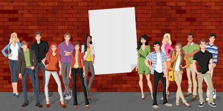 boy student: Group of cartoon teenagers in front of red brick wall background  Illustration
