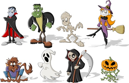 Funny cartoon classic halloween monster characters Illustration
