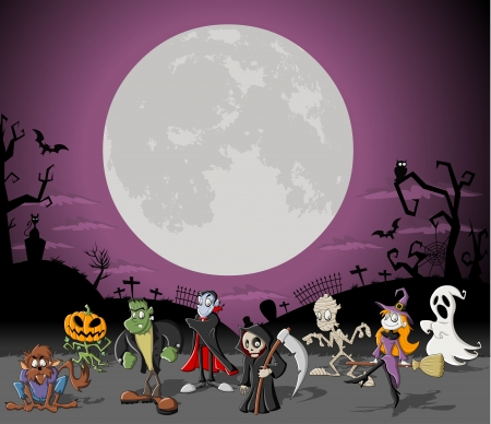 dracula: Halloween background with full moon over a cemetery with funny cartoon classic monster characters