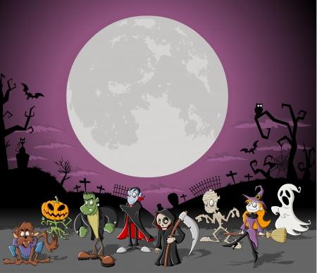 luna caricatura: Halloween de fondo con la luna llena sobre un cementerio con personajes de dibujos animados divertidos monstruos clásicos