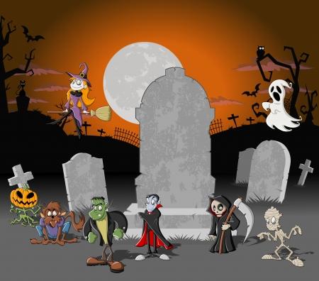 lupo mannaro: Halloween background cimitero con tombe e divertenti personaggi dei cartoni animati classici monster