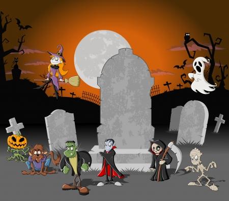Halloween cemetery background with tombs and funny cartoon classic monster characters    Vector