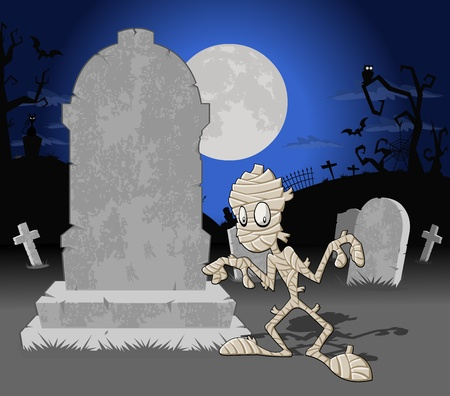 mummified: Halloween cemetery background with tombs and funny cartoon mummy
