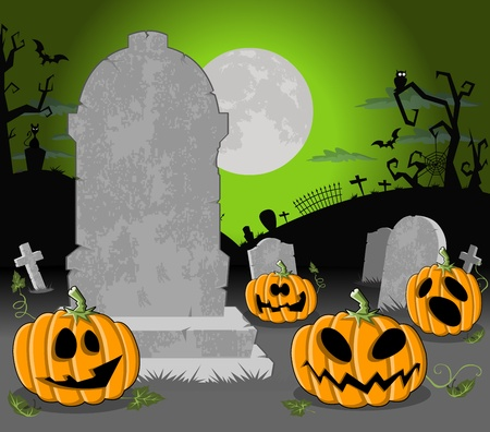 fruit bat: Halloween cemetery background with tombs and funny cartoon pumpkins