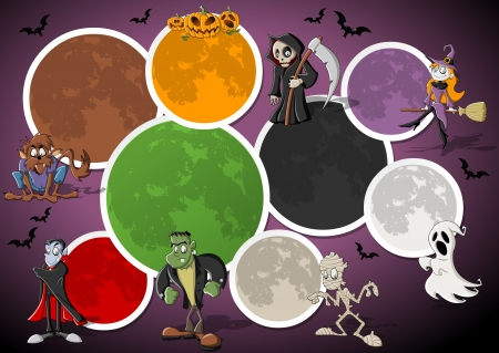 dramatic characters: Colorful halloween template for advertising brochure with funny cartoon classic monster characters