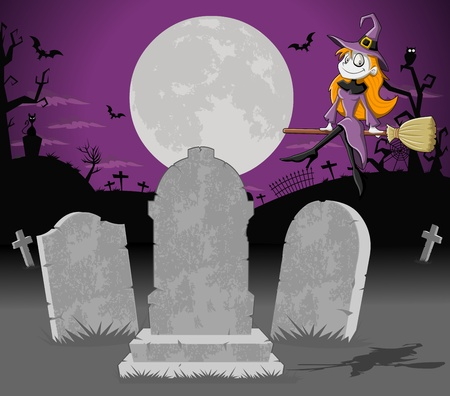Halloween cemetery background with tombs and funny cartoon witch  Vector