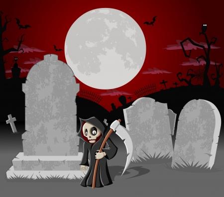 Halloween de fondo cementerio con tumbas y el carácter divertido de la historieta muerte