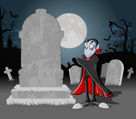 cartoon vampire: Halloween cemetery background with tombs and funny cartoon classic vampire character   Illustration