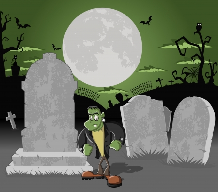 Halloween cemetery background with tombs and funny cartoon classic frankenstein monster character