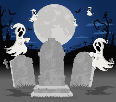 Halloween cemetery background with tombs and funny cartoon classic ghost character   Stock Vector - 16375284