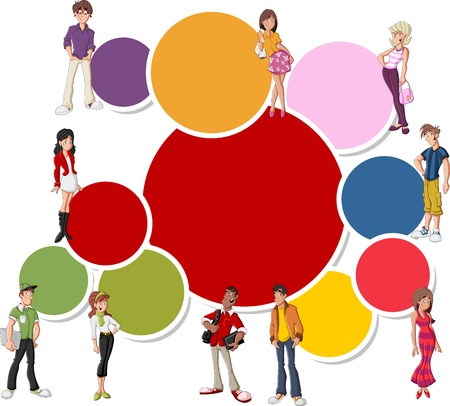 Colorful template for advertising brochure with cool cartoon young people  Teenagers   Vector