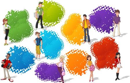 Modèle coloré pour la brochure publicitaire avec cool adolescents de bande dessinée des jeunes