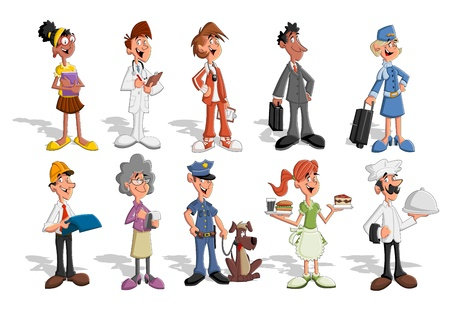 lass: Group of cartoon business people  Professionals   Illustration