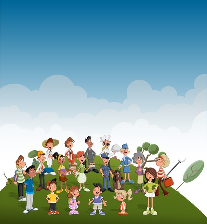 kid doctor: Cute happy cartoon people on green park  Professionals
