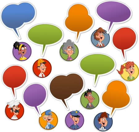 Group of cartoon business people faces with speech balloon icons  Vector