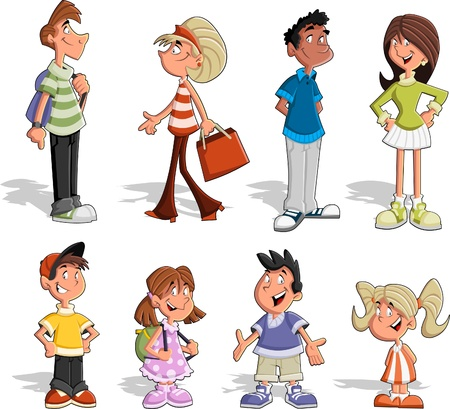 children group: Group of six cute happy cartoon people