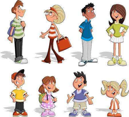 Grupo de seis personas lindas felices de la historieta Ilustración de vector