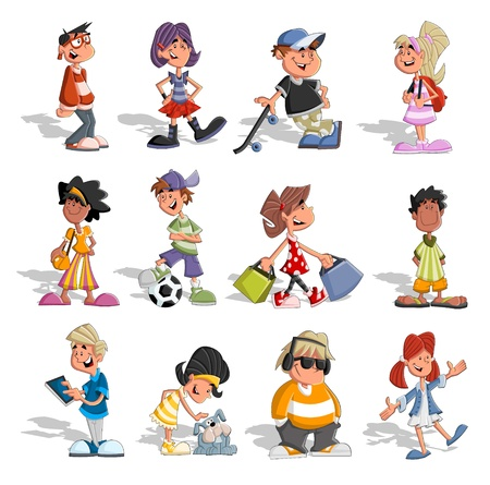 niño en patines: Grupo de personas de dibujos animados Adolescentes