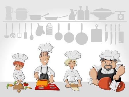 chef caricatura: Equipo Cocinero que cocina deliciosa comida en la cocina del restaurante de comida gourmet