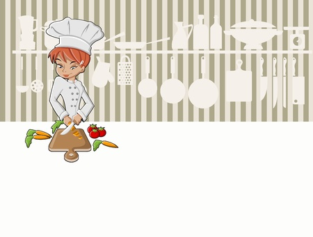 cooker: Chef girl cooking delicious meal in restaurant kitchen  Gourmet food   Illustration