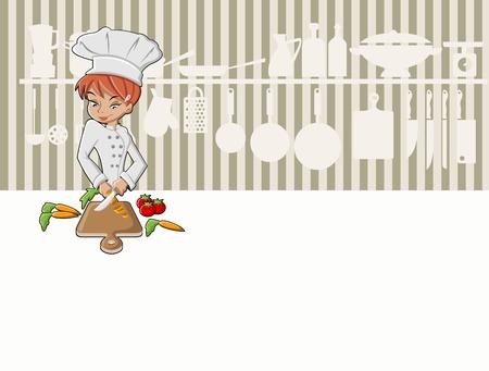 Dziewczyna Chef gotowania pyszny posiłek w kuchni jedzenie w restauracji Gourmet Ilustracje wektorowe
