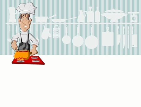 Chef man cooking delicious meal in restaurant kitchen  Gourmet food   Vector