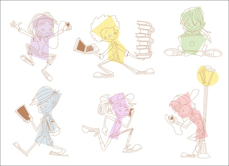 Grupo de estudiantes adolescentes de dibujos animados con los reproductores de mp3, tablets y tel�fonos celulares Foto de archivo - 16375254