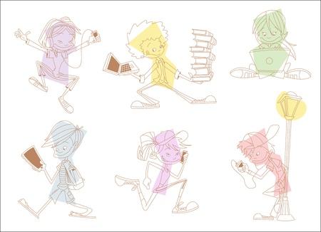 Grupo de estudiantes adolescentes de dibujos animados con los reproductores de mp3, tablets y teléfonos celulares Foto de archivo - 16375254