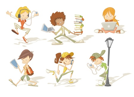 portable player: Group of cartoon teenager students with mp3 players, tablets and cellphones   Illustration