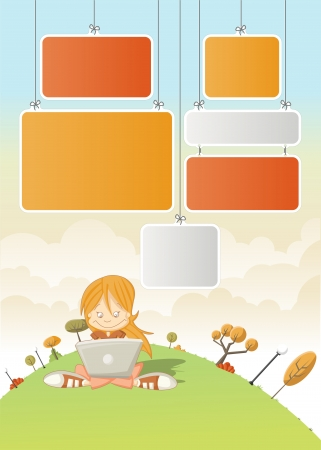 kid cartoon: Cute cartoon girl with laptop on green park with boards for template   design