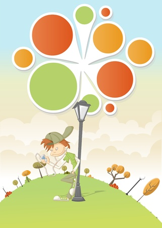 Cool cartoon boy listening music on mp3 player on green park with a balls template   design    Vector