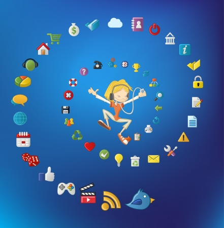 Cute cartoon girl jumping and listening music on mp3 player with Internet and Website icons set   Vector