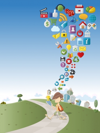 media gadget: Cute cartoon boy using tablet on green park with Internet and Website icons Set
