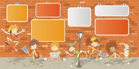 teenagers learning: Teenager students in front of orange brick wall  Illustration