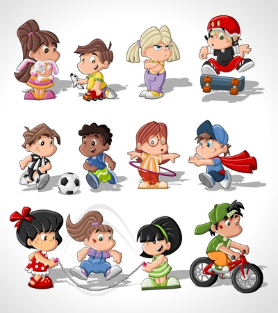 hula girl: Cute happy cartoon kids playing