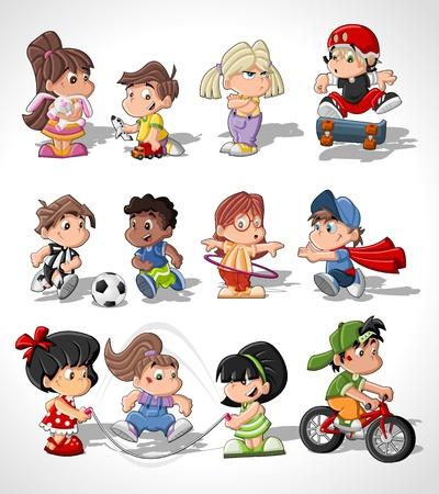 niño en patines: Lindos niños que juegan felices de la historieta